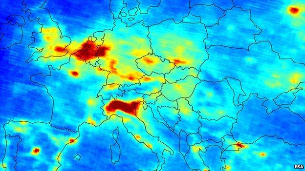 Nitrogen oxide emissions over Europe