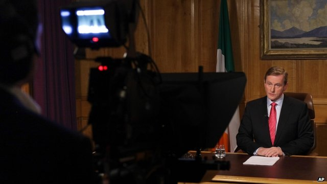 Ireland's Prime Minister Enda Kenny during a live televised address to the nation