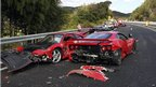 Damaged Ferrari sports cars along a stretch of the Chugoku highway in Shimonoseki, Yamaguchi prefecture, western Japan (4 December 2011)