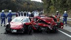 Damaged Ferraris with emergency services (4 December 2011)