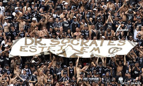 Corinthians fans hold up Socrates banner