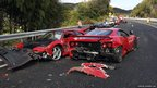 Two damaged Ferraris on the Chugoku highway in Shimonoseki, Japan