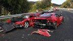 Two damaged Ferraris on the Chugoku highway in Shimonoseki, Japan