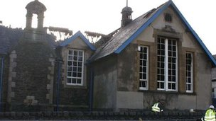 The fire caused major damage to the main hall of Ysgol Glanadda in Bangor