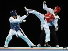 GB taekwondo fighter Josh Webley and Germany's Levent Tuncat. 