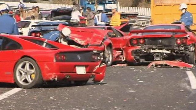 Three Ferraris after crash