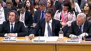 Steve Coogan, Hugh Grant, Max Mosley giving evidence