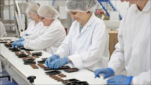 Production line for Hotel Chocolat chocolates