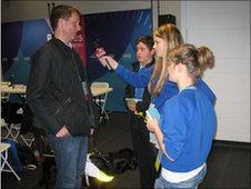 School Reporters interview 2012 Director of Paralympic Integration backstage at the event