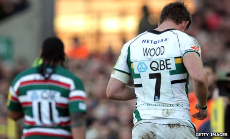 Leicester's Alesana Tuilagi (left) and Northampton's Tom Wood were both sent off after a mass brawl