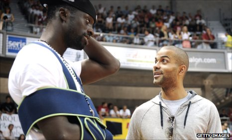 Pops Mensah-Bonsu and Tony Parker