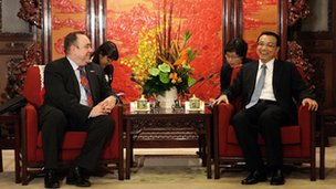 China's Vice Premier Li Keqiang meeting Scottish First Minister Alex Salmond at Zhongnanhai in Beijing