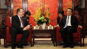 China's Vice Premier Li Keqiang meeting Scottish First Minister Alex Salmond at Zhongnanhai in Beijing