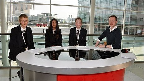 School Reporters in Salford with BBC journalist Adam Fleming