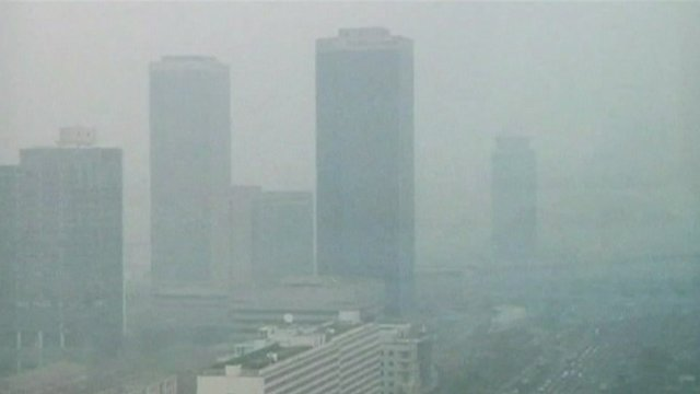 Beijing skyline shrouded by smog