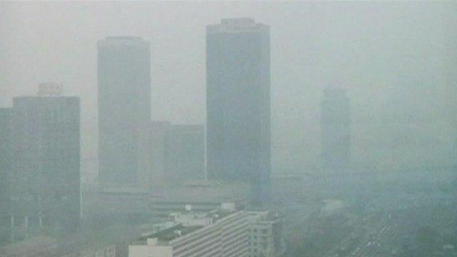 Beijing skyline shrouded by smog