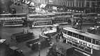Trams in a traffic jam at Elephant and Castle