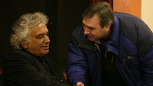 Bell Pottinger representative Tim Ryan (right) meets Vickramabahu Karunaratne, general secretary of the NSS Party at a north London meeting in November 2010