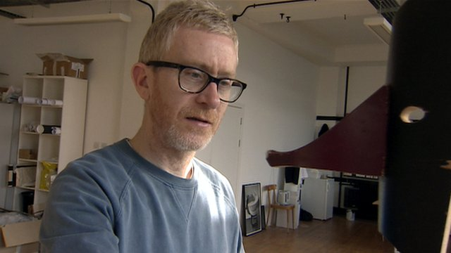 Martin Boyce in an art studio