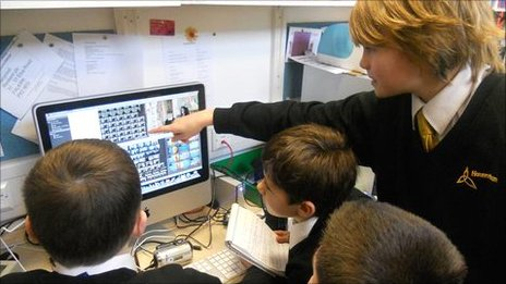 School Reporters at Hounsdown School look at their pictures