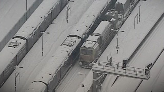 Trains in snow