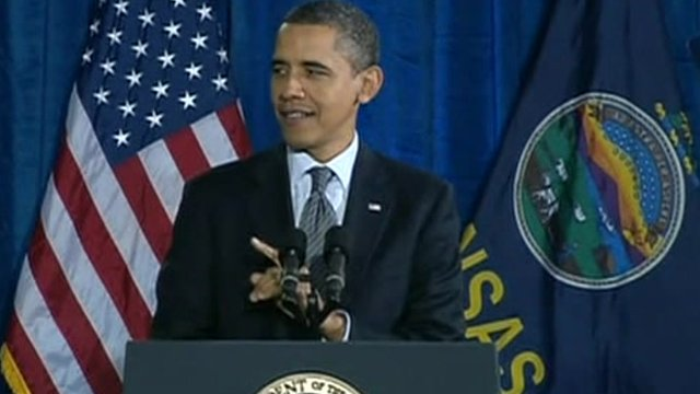 President Obama speaking in Kansas