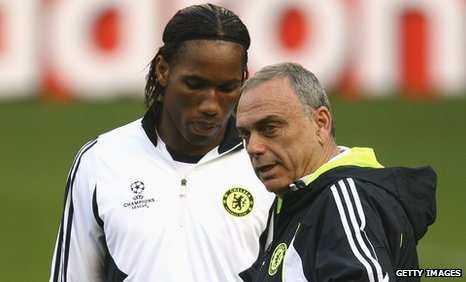 Didier Drogba and Avram Grant