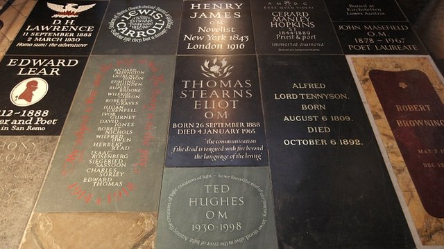 Poets' Corner in Westminster Abbey in London