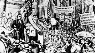 An image of a Lincoln-Douglas debate