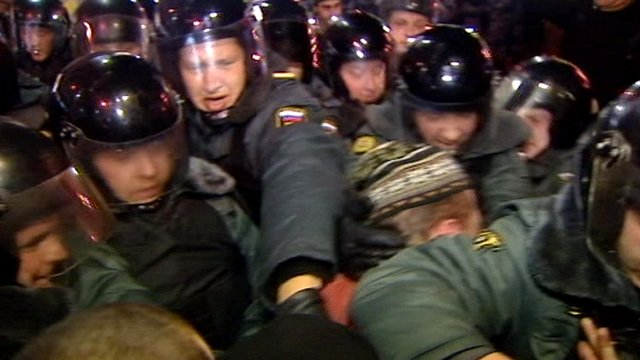 Riot police in Moscow