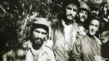 Celia Sanchez with Fidel Castro (middle) and other revolutionaries