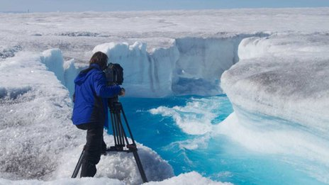 On location... filming on a glacier for Frozen Planet