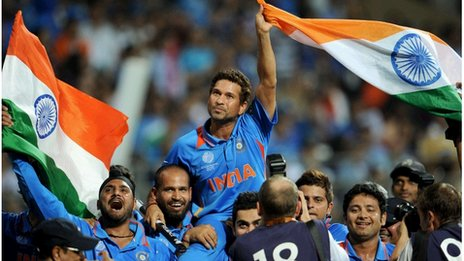 Sachin Tendulkar after India won the World Cup cricket in 2011