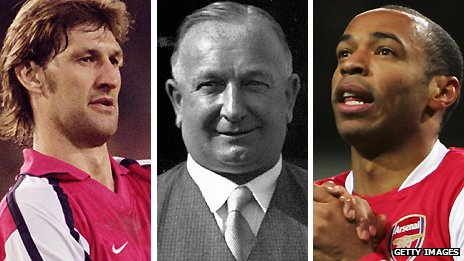 Tony Adams, Herbert Chapman and Thierry Henry
