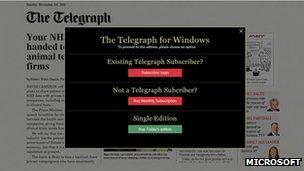 Telegraph newspaper app payment system
