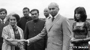 Indira Gandhi and Zulfikar Ali Bhutto 