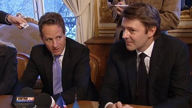 US Treasury Secretary Timothy Geithner and French Finance Minister, Francois Baroin