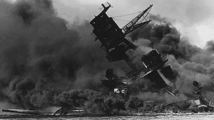 USS Arizona sinks during Pearl Harbor attacks