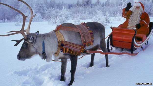 Santa with a reindeer