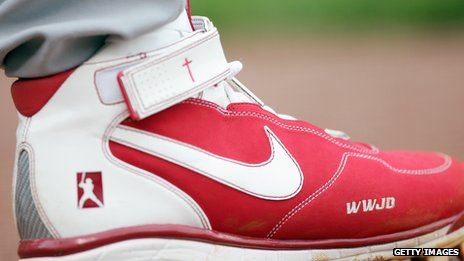 Slogan on baseball player Albert Pujols' boot