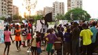 Children at Abidjan's photographic flash mob