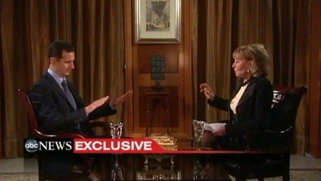 ABC's Barbara Walters interviewing Syrian President Bashar al-Assad