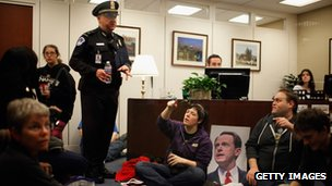Protesters wait in the office of Senator Pat Toomey of Pennsylvania, 6 December 2011