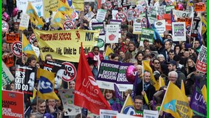 Protesters march in London over pensions