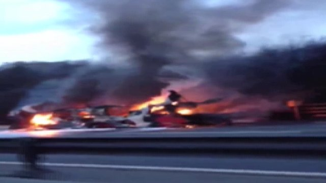Double decker bus fire footage shot by Jermaine Balfourth