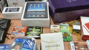 Various counterfeit goods seized by UK Border Agency