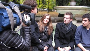 Reporter Ben with young activists in Rome