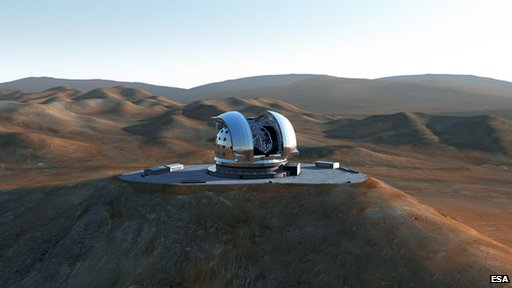Artist's impression of the European Extremely Large Telescope (E-ELT) on Cerro Armazones,