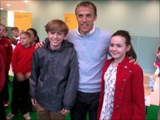 Everton captain Phil Neville with Faye and Will