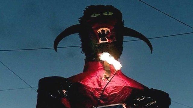 Devil figure burns in Guatemala